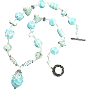 SALE Dreamy Sky Blue Opalescent Necklace, Lampwork Beads, Artisan Crafted at Sweetpea Cottage