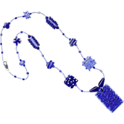 SALE Two-Tone Blues in a Charming Necklace w/ Our Own Lampworked Beads
