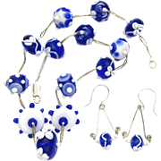 Lampwork Glass Necklace and Earring -- Colors of Delft