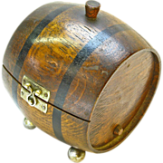 SALE Barrel Cigarette Box Humidor, Ca. 1920