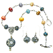 Lampwork Bird's Egg Beaded Necklace and Earring Set; Artisan Crafted at Sweetpea Cottage Studi