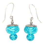 SALE Swirly Turquoise Earrings in Sterling with Lampwork Beads