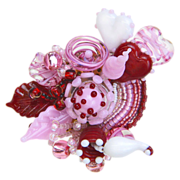 SALE Wonderful Sweetheart Corsage Brooch/Pin in Handmade Lampwork Beads
