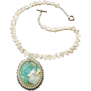 SALE Cameo Pendant w/ Hand-Beaded Bezel on Mother of Pearl Necklace, Victorian Lady  Style