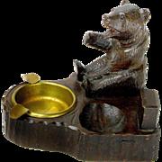 SALE Carved Black Forest Bear Ashtray / Pipe Rest/ Matchbox Holder