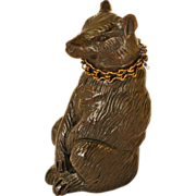 Black Forest Carved Match Holder Seated Bear with Chain Collar
