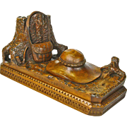 Black Forest Style Carved Souvenir Desk Piece, Inkwell, Zakopenego, Poland