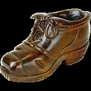 SALE Black Forest Carved Wooden Hiking Boot Match Cigarette Holder, Kissengen, Germany