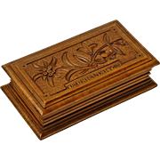SOLD Souvenir Black Forest Carved Stamp Box from Maderanerthal - Red Tag Sale Item