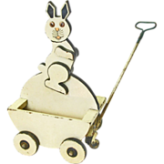 SALE Easter Bunny Pull Cart Toy, Ca. 1880-1900