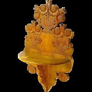 SALE Expertly Carved Folk Art Hanging Shelf, Ca. 1880