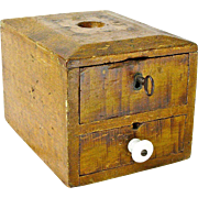 SALE Grain Painted Two Drawer Fraternal Organization Ballot Box, Ca. 1880