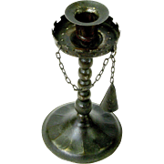 SALE Goberg Gothic Candlestick with Chained Snuffer, Ca. 1910