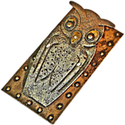 SALE Goberg Germany Hand Hammered Iron Owl Desk Clip / Paper Clip,  Ca. 1900