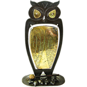 SALE Monumental Signed Goberg Owl Gong, Ca. 1910