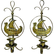 A Rare Pair of Goberg Hammered Iron Brass Viking Wall Sconce Candlesticks, Ca. 1910