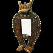 SALE Handsome Folk Art Carved Horseshoe Mirror, Ca. 1930's