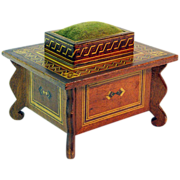SALE Sewing Box w/Pin Cushion & Drawer, Inlay Decorated, Ca. 1900
