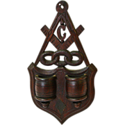 Masonic Lodge Emblem Hanging Match Holder w/ Striker, Ca. 1880-1900