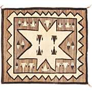 SALE Pictorial Valero Star Navajo Weaving, All Natural Wools, Ca. 1930