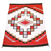 SALE Ganado Boxed Step Diamond Dazzler Navajo Rug,  Ca. 30's