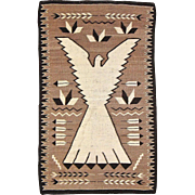 SALE Pictorial Navajo Weaving Peyote Bird /Eagle, ca. 1930