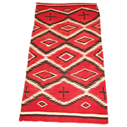 SALE Large Transitional Navajo  Weaving with Hand-spun Wool, ca. 1900