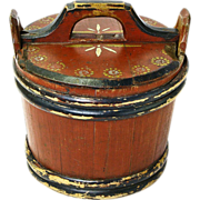 SALE Norwegian Folk Art Painted  Storage Container with Lid, 1850-1900
