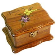 Souvenir Floral Painted Olive Wood Padded Jewelry Box, Provence, France, Ca.  1900's