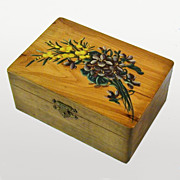 SALE Floral Painted Olive Wood Jewelry Box, Souvenir of France, 1900's