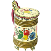 Norwegian Os Style Rosemaling Painted Wooden Lidded Tankard