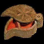 Carved 19th C. Folk Art Asian-Indian Tika w/ Pivoting Lid