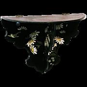 Japanned Papier Mache Floral Decorated Folding Single Shelf, Victorian Era