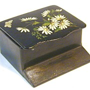 Floral Painted Papier Mache Match Safe, C. 1890