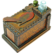 Folk Art Painted Pyrographic Desk Box with Cardinal &  Inkwell , Ca. 1890