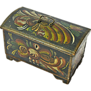 SALE Norwegian Rosemaling Decorated Miniature Kiste / Dome Top Trunk, Dated 1896
