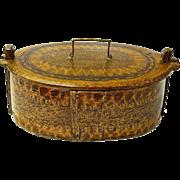 SALE Norwegian Tine Bentwood Box, Grain Painted, Ca. 1880-1900