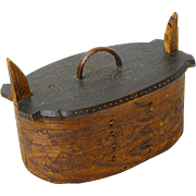 SALE Carved and Pyrographic Decorated Norwegian Tine, Ca. 1890