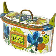 SALE Norwegian Os Rosemaling Painted Tine Bentwood Box, Dated 1883