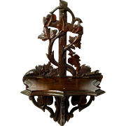 Carved Walnut Folding Wall Shelf, Victorian, Ca. 1890