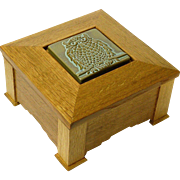 SALE PENDING White Oak Mission Style Jewelry Box w/ Inset Arts and Crafts Owl Tile, Artisan Cr