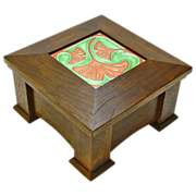 SOLD White Oak Mission Style Dresser Box w/ Inset Arts and Crafts Tile