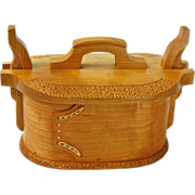 SOLD Norwegian Style Quartersawn Cherry Tine Bent Wood Box, Artisan Crafted at Sweetpea Cottag