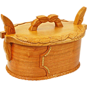 SOLD Norwegian Style Leaf Carved Cherry Tine, Bride's Box, from Sweetpea Cottage Workshop