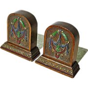 Carved and Painted Art Nouveau Style Oak  Bookends