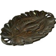 Black Forest Style Carved Leaf Bread Tray, Signed, Poznan, 1929