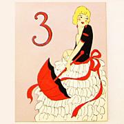 Art Deco Decorative Auction Bridge Score Pads & Table Numbers in Box, Ca. 1920's