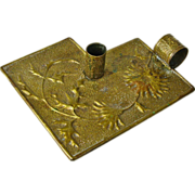 Hammered Brass Arts and Crafts Chamberstick