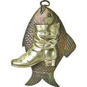 Copper and Nickel-Tin Fish and Boot Match Holder, Wall Mounted
