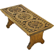Chip Carved English Oak Collapsible Bench, Ca. 1900